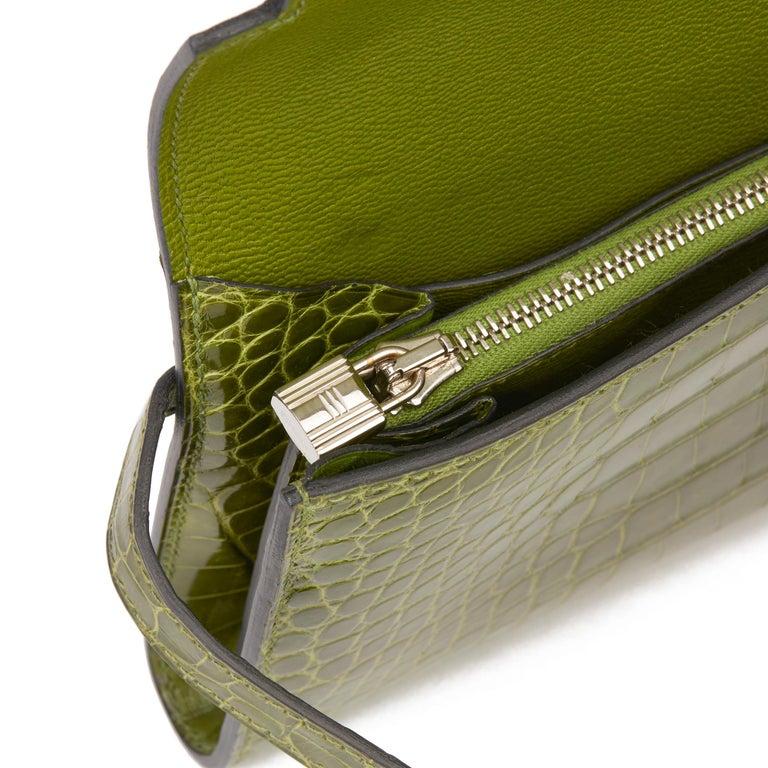 2009 Hermès Vert Perlouse Shiny Alligator Leather Kelly Long Wallet For Sale 5