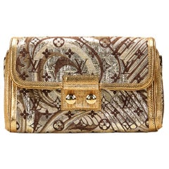 2009 Louis Vuitton Gold Monogram Brocade & Lizard Leather Thalie Clutch