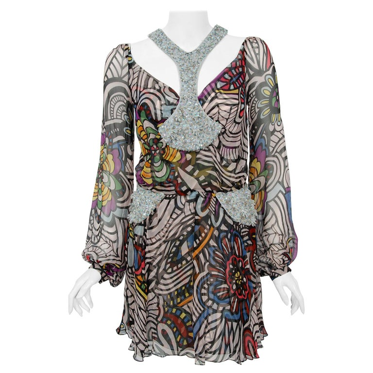 2009 Missoni Psychedelic Floral Silk Chiffon Beaded Cut-Out Mini Dress w/ Tags  For Sale