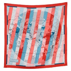 2009s Hermes Red and Blue Le Monde est Vaste by Cyrille Diatkine Silk Scarf