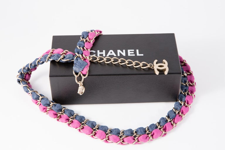 2009s Silver Tone Blue Jean and Pink Chanel Chain Belt  For Sale 1