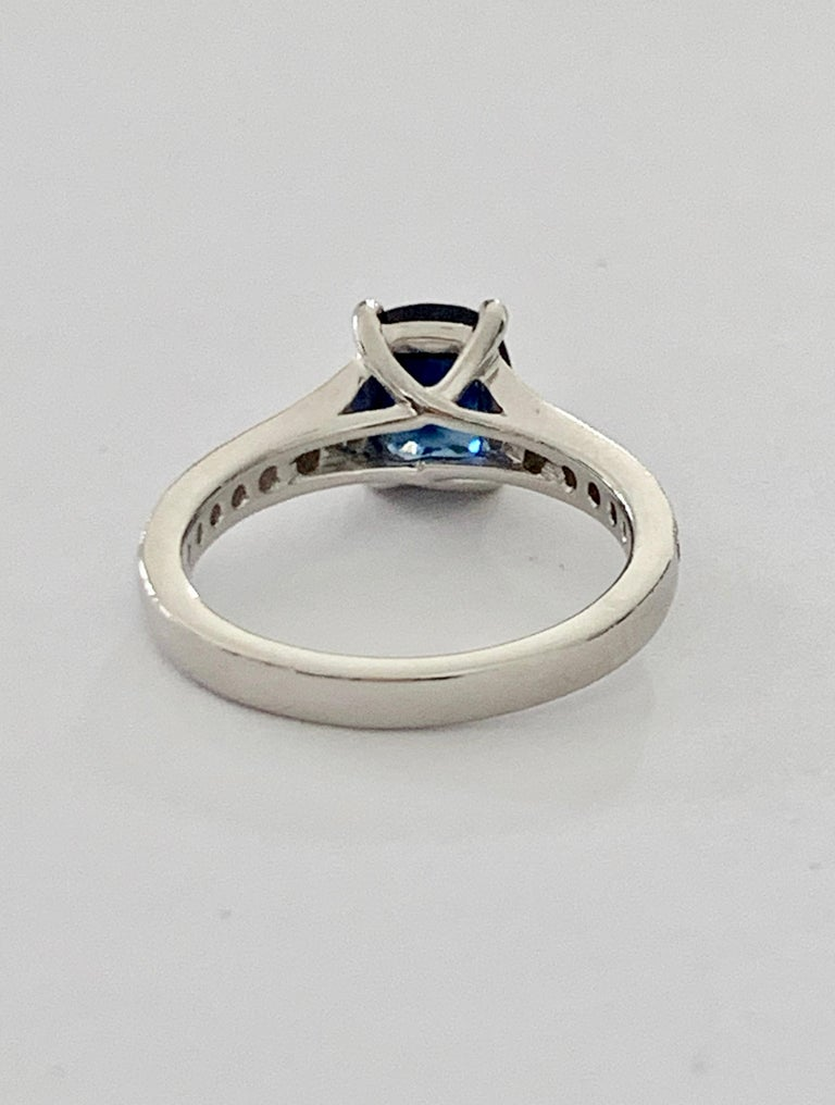 2.00ct Cushion Cut Blue Sapphire in a Platinum Band Set with 0.24ct of Diamonds In New Condition For Sale In Chislehurst, Kent