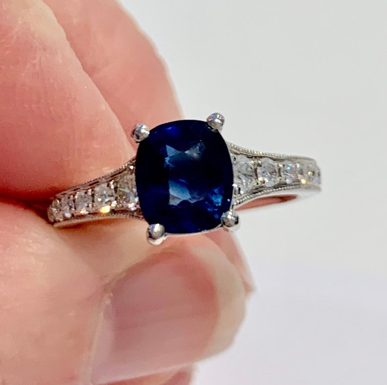 2.00ct Cushion Cut Blue Sapphire in a Platinum Band Set with 0.24ct of Diamonds For Sale 1