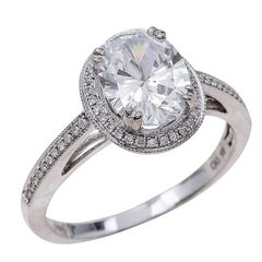 2.00ct Oval Cut Moissanite Engagement Ring in 14K White Gold