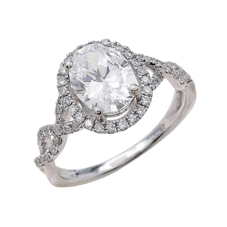2.00ct Oval Cut Moissanite Engagement Ring in 14K White Gold For Sale