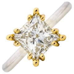 2.01 Carat 14 Karat White Yellow Gold GSL Certified Princess Diamond Ring