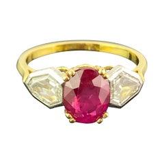 2.01 Carat Burmese Ruby and Diamond Three Stone Engagement Ring