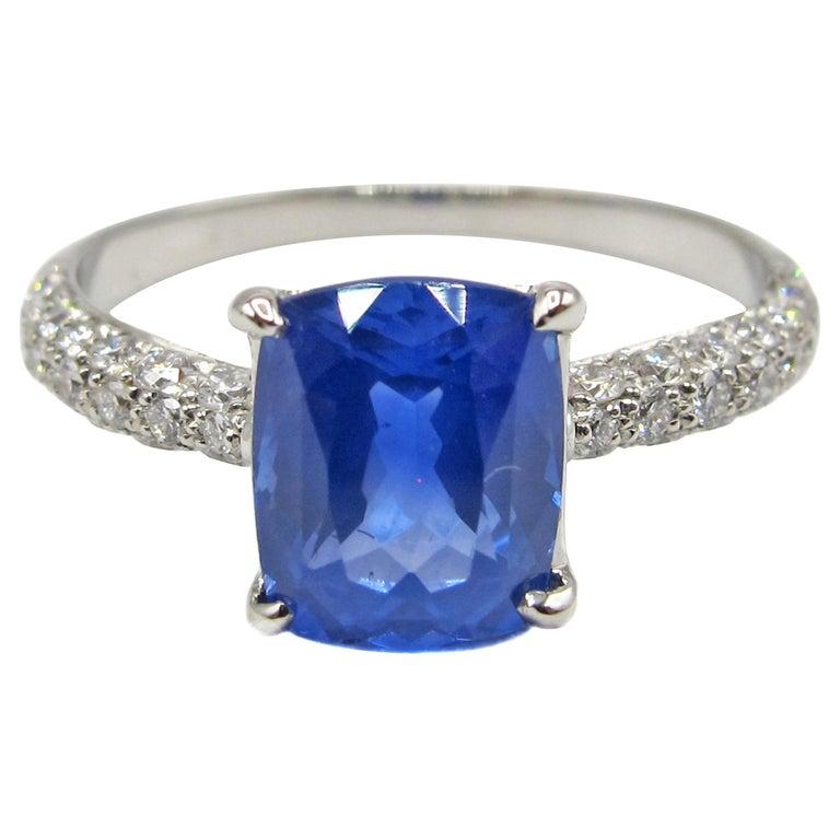 2.01 Carat Cushion Cut Natural Ceylon Sapphire Diamond Platinum Engagement Ring For Sale