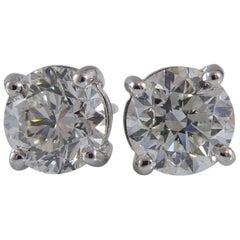 2.01 Carat Diamond Earrings, Certified Round Brilliant Cut Diamonds