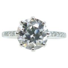 2.01 Carat Early Brilliant Cut Diamond, Platinum Solitaire Ring, circa 1940s