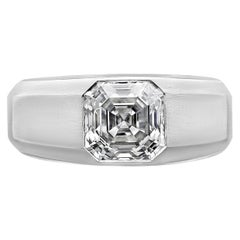 2.01 Carat F VS2 Asscher Cut Diamond Brushed Platinum Gypsy Ring by Hancocks