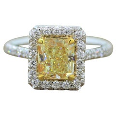 2.01 Carat Fancy Intense Yellow Diamond Gold Ring, EGL Certified
