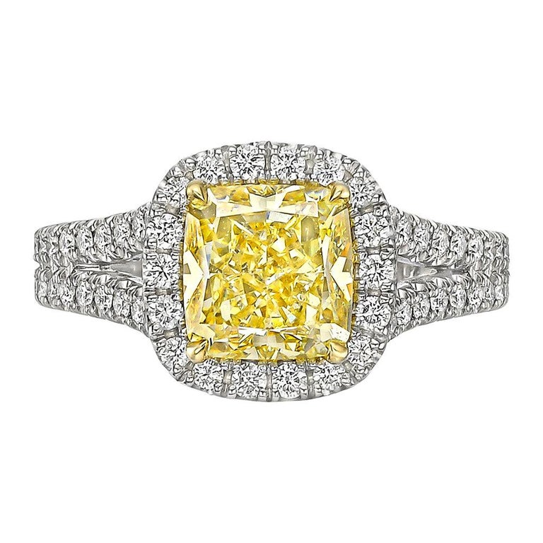 2.01 Carat Fancy Intense Yellow Diamond Ring 'VS1' For Sale