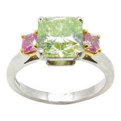 2.01 Carat Fancy Intense Yellow Green and Fancy Vivid Pink Diamond Ring
