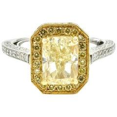 2.01 Carat Fancy Yellow Diamond 18 Karat Two-Tone Engagement Ring