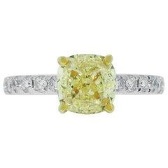 2.01 Carat Fancy Yellow Diamond Engagement Ring