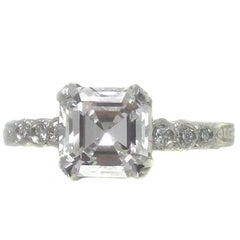 2.01 Carat GIA Certified Asscher Cut Diamond Platinum Engagement Ring