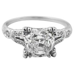 2.01 Carat GIA Certified Cushion Brilliant Diamond Platinum Engagement Ring