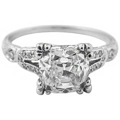 2.01 Carat GIA Certified Cushion Brilliant Diamond Platinum Engagement Ring