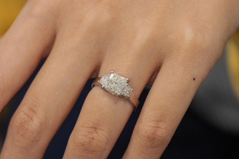 2.01 Carat GIA Certified Diamond Platinum Three Stone Engagement Ring In New Condition For Sale In New York, NY