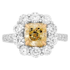 2.01 Carat GIA Certified Fancy Yellow Diamond Ring