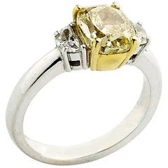 2.01 Carat GIA Certified Fancy Yellow Diamond Ring