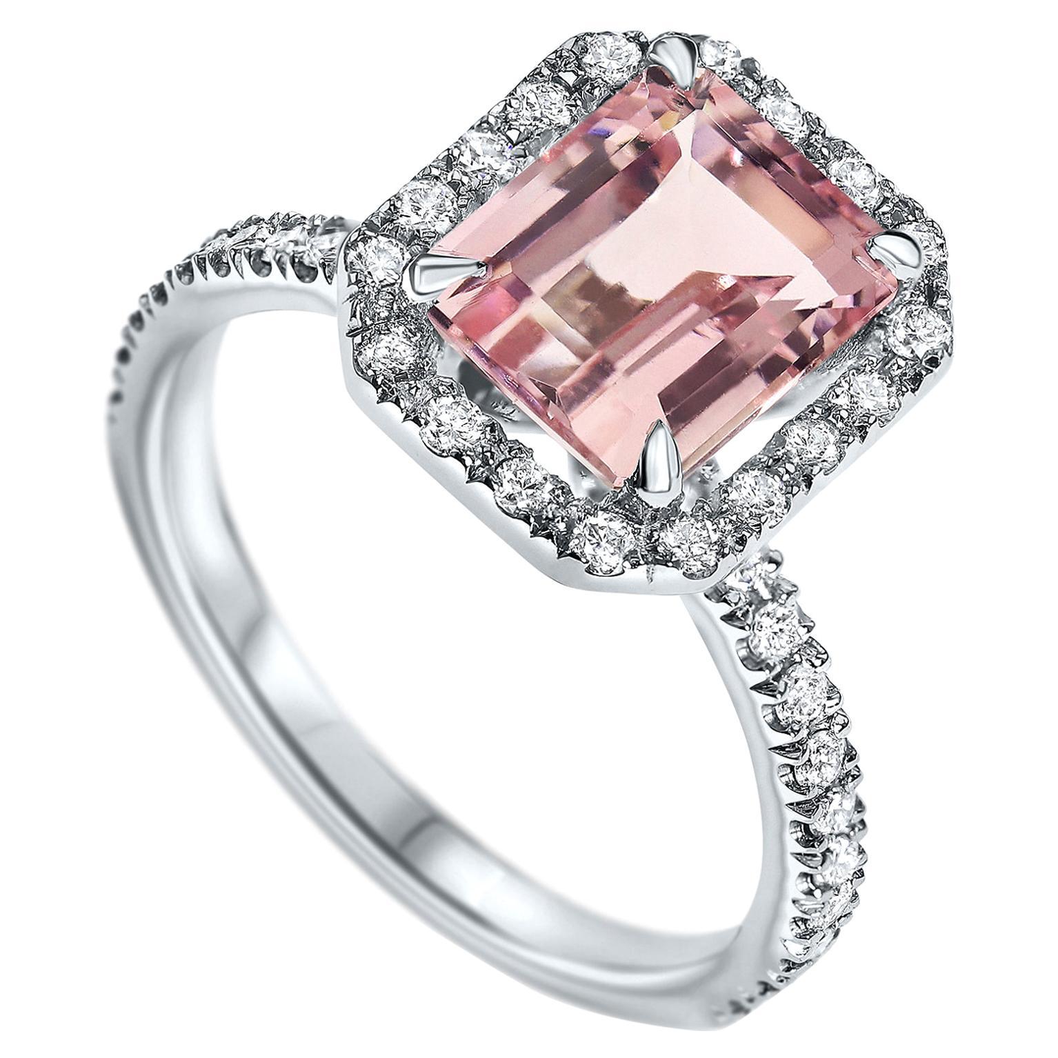 2.01 Carat Morganite and Diamond Ring in 14 Karat White Gold - Shlomit Rogel