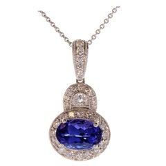 2.01 Carat Oval Tanzanite and Diamond Pendant Necklace in 18 Karat White Gold