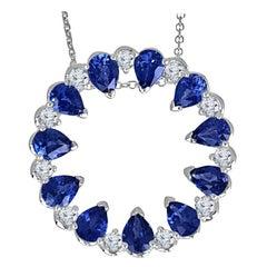 2.01 Carat Pear Shape Blue Sapphire and Round Diamond Pendant