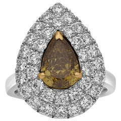 2.01 Carat Pear Shaped GIA Certified Fancy Colored Diamond and Platinum Ring