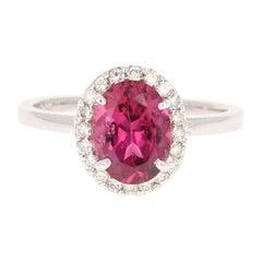 2.01 Carat Pink Tourmaline Diamond 14 Karat White Gold Ring