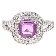 2.01 Carat Purple Sapphire Diamond 14 Karat White Gold Ring