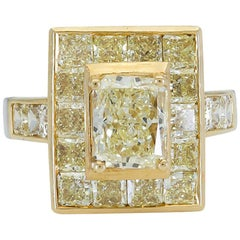 2.01 Carat Radiant Cut Yellow Diamond Halo Engagement Ring