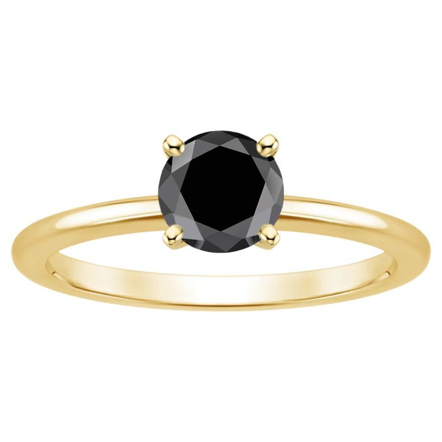 2.01 Carat Round Black Diamond Solitaire Ring in 14K Yellow Gold