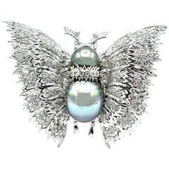 2.01 Carat Round Brilliant Diamond and Tahitian Pearl Butterfly Pendant Brooch