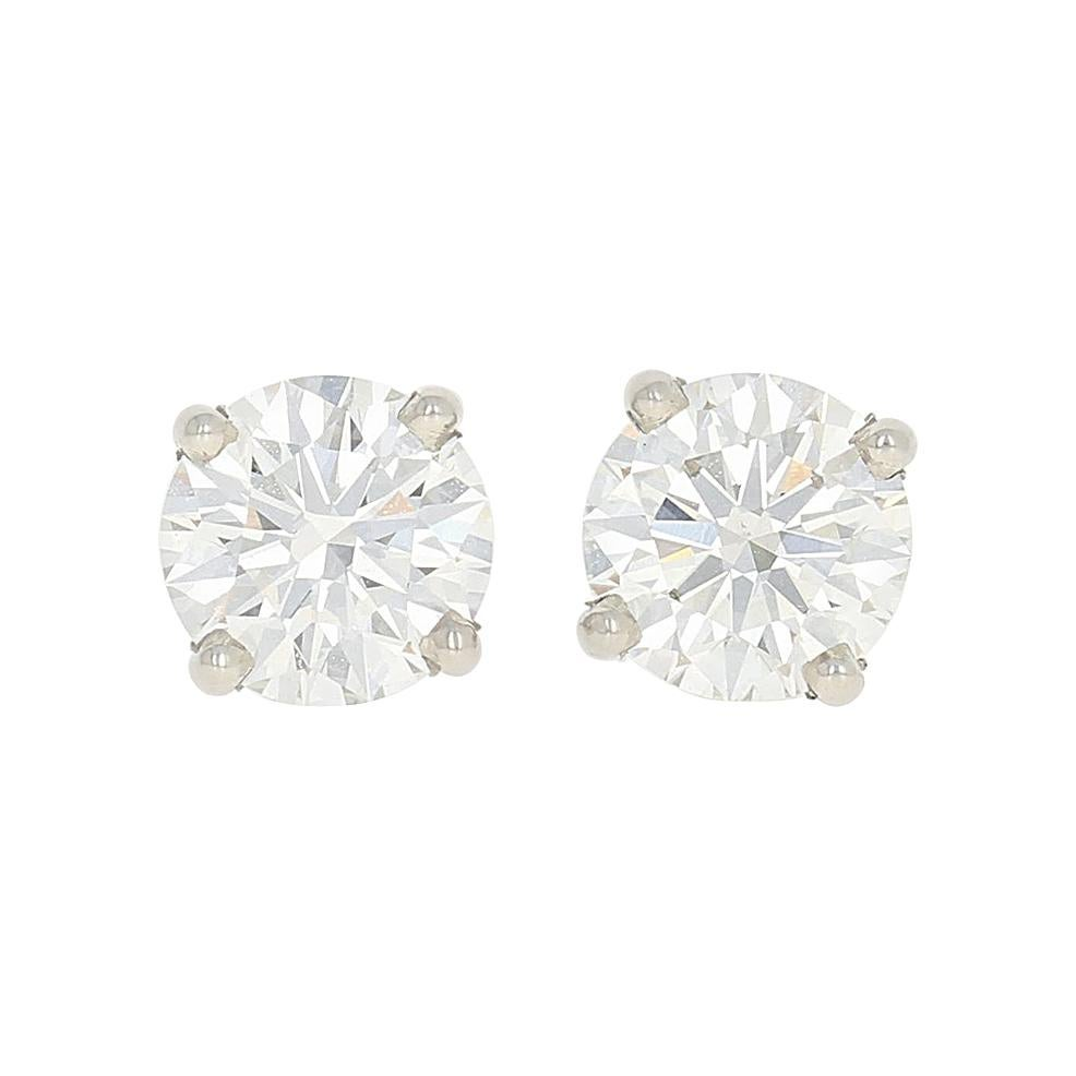 2.01 Carat Round Brilliant Diamond Earrings, 950 Platinum GIA Pierced Studs