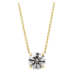 2.01 Carat Round Diamond Solitaire Pendant Necklace