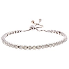 2.01 Carat Total Diamond Adjustable Bracelet in 18 Karat White Gold