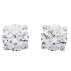 2.01 Carat Total Diamond Stud Earrings in 14 Karat White Gold