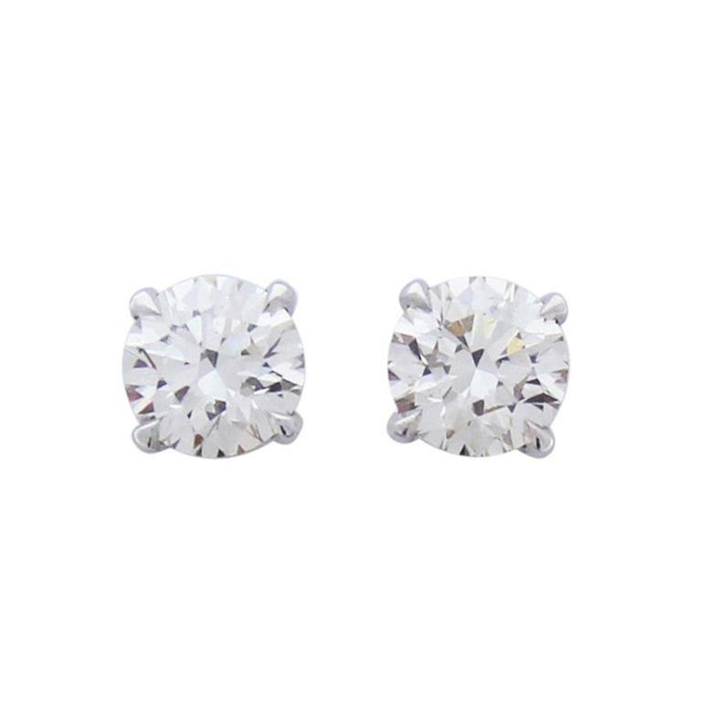 2.01 Carat Total Diamond Stud Earrings in 14 Karat White Gold For Sale
