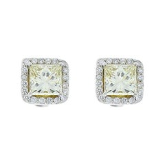 2.01 Carat Total Fancy Yellow Princess Cut Diamond Stud Earrings