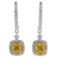 2.01 Carat Total Weight Cushion Natural Fancy Vivid Yellow Diamond 18K Earrings
