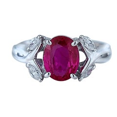 2.01 Carat Unheated Oval Ruby and Diamond Ring