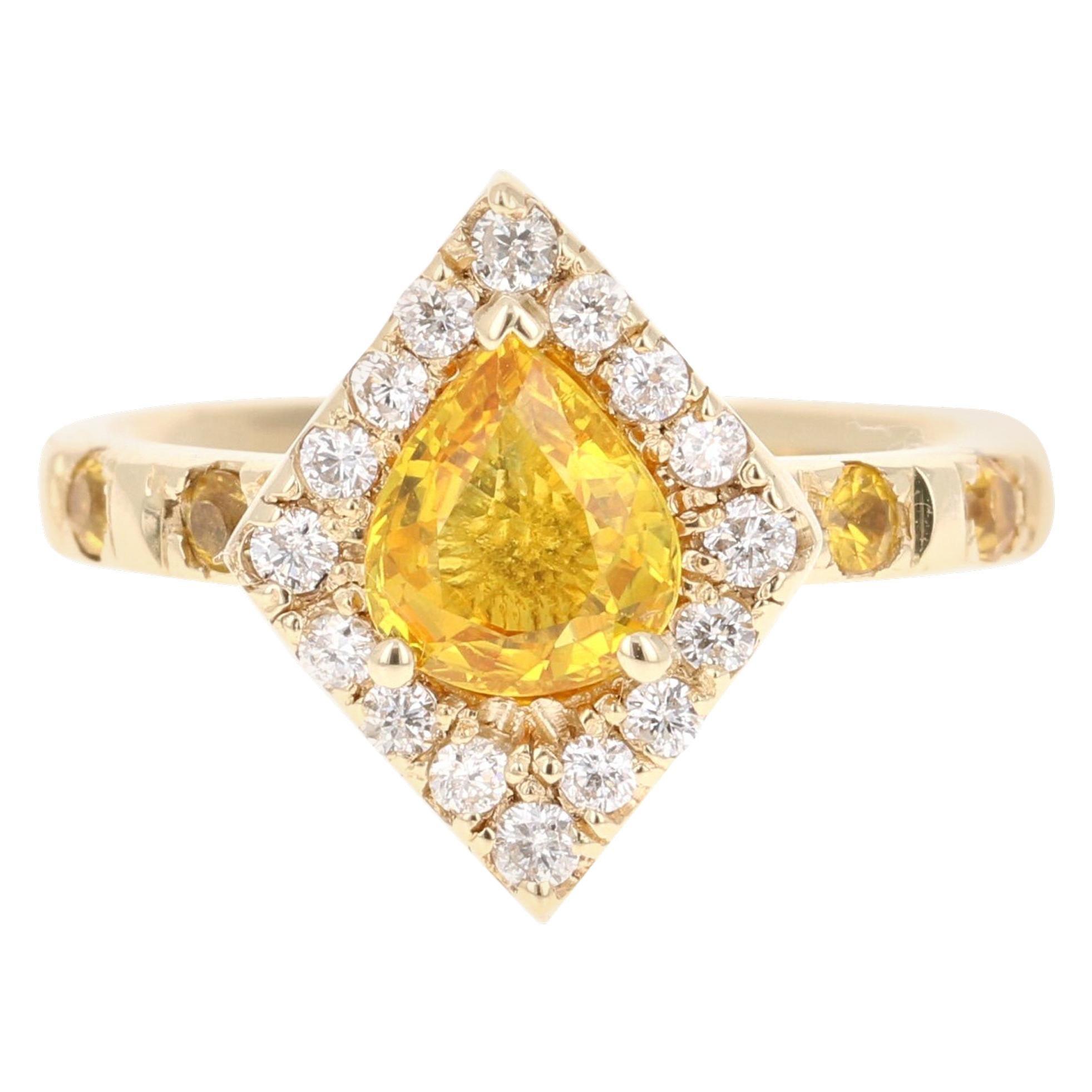 2.01 Carat Yellow Sapphire and Diamond 14 Karat Yellow Gold Ring