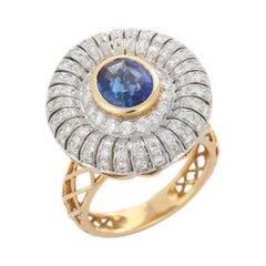 2.01 Carats Blue Sapphire Diamond 18 Karat Gold Ring