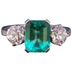 2.01 Carat Columbian Emerald and Diamond 3-Stone Ring, Certificated