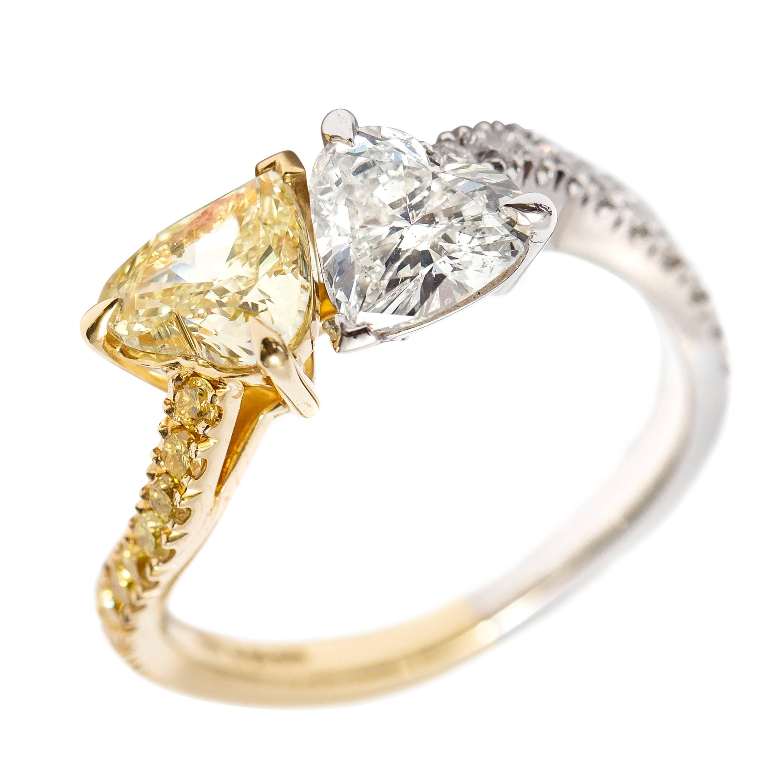 2.01 CT Double Heart Shape 18 KT Yellow Gold Platinum Diamond Engagement Ring