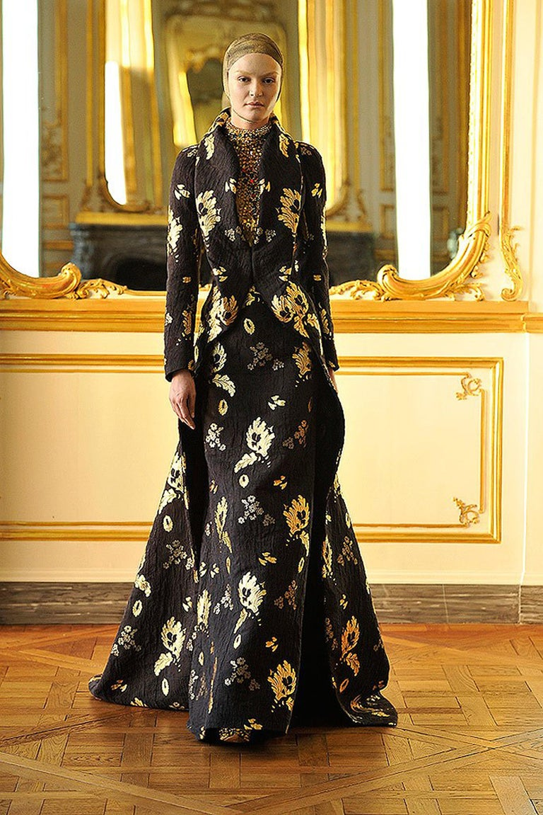 2010 Alexander McQueen Final Runway Collection Metallic-Gold Black Brocade Dress 1