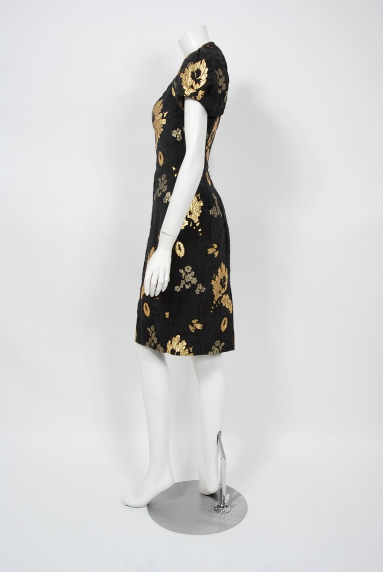 2010 Alexander McQueen Final Runway Collection Metallic-Gold Black Brocade Dress 3