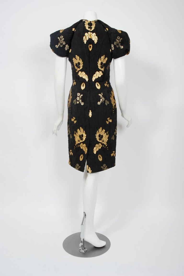 2010 Alexander McQueen Final Runway Collection Metallic-Gold Black Brocade Dress 4